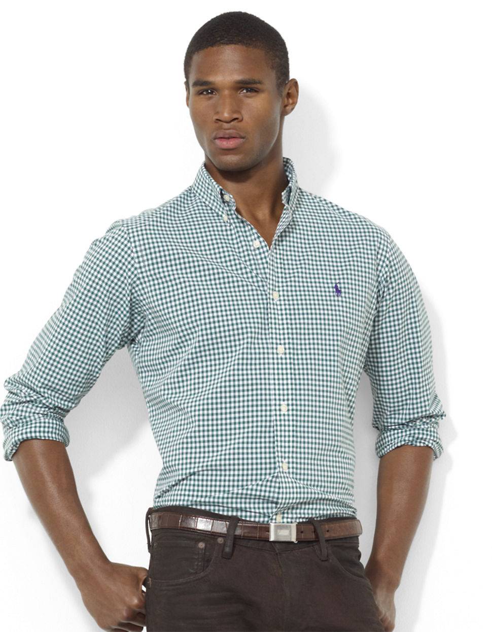 polo ralph lauren green custom fit checked sport shirt. Black Bedroom Furniture Sets. Home Design Ideas