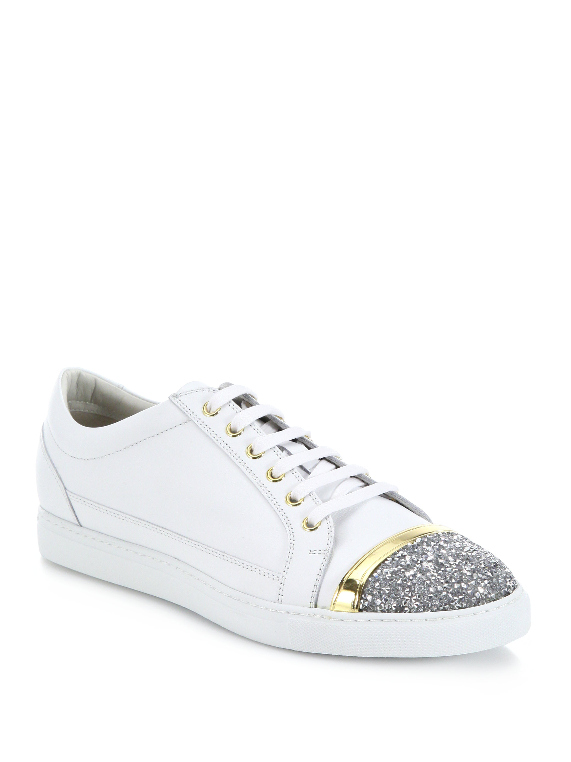 Lyst Louis Leeman Swarovski Crystal Cap Toe Leather