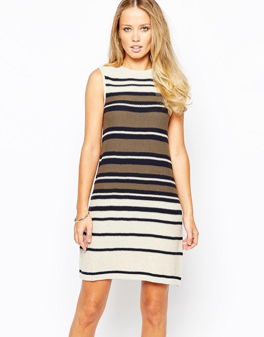 Warehouse Sleeveless Stripe Swing Dress in Black