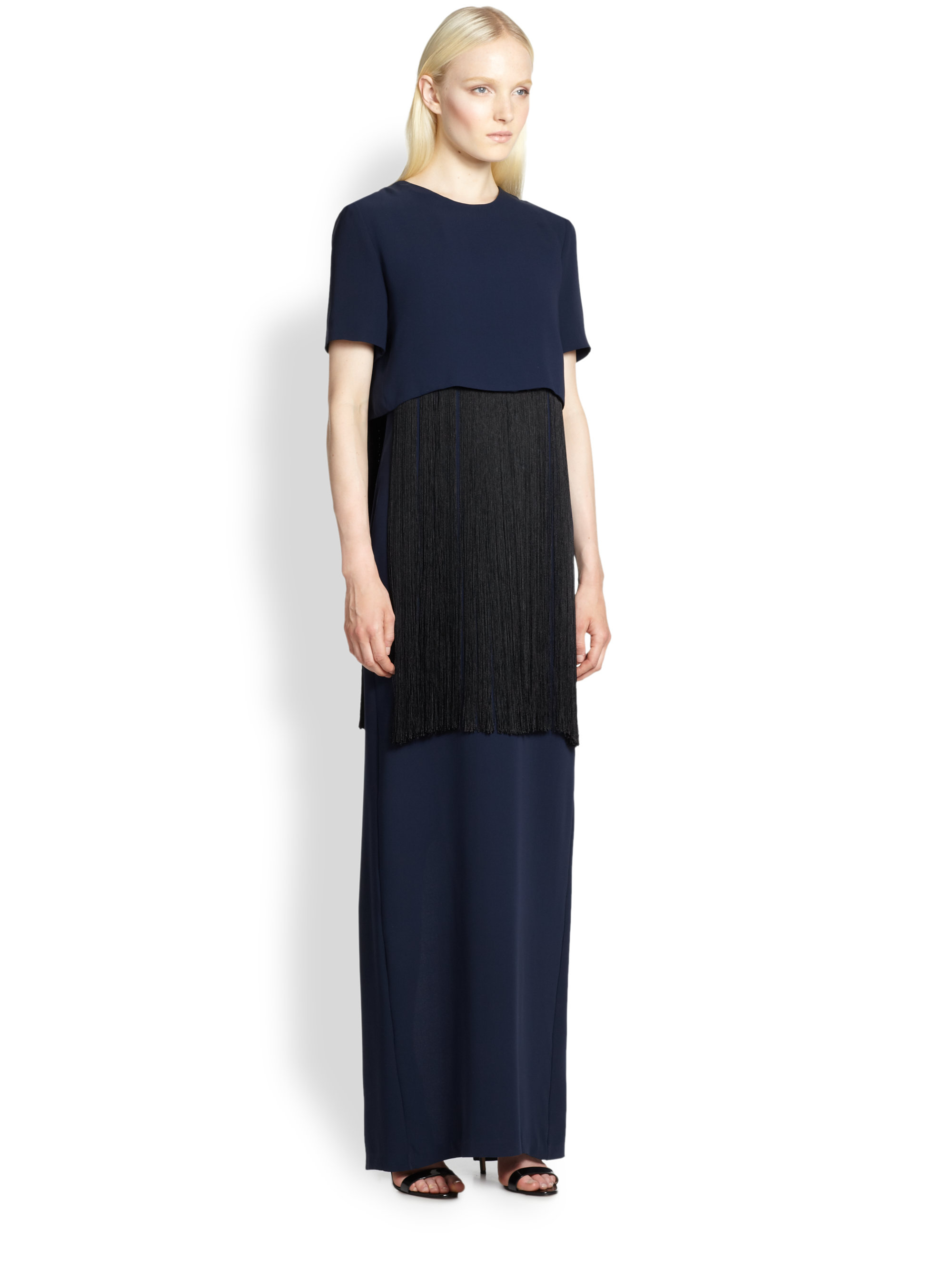 Adam lippes fringed crepe gown in black navy black lyst