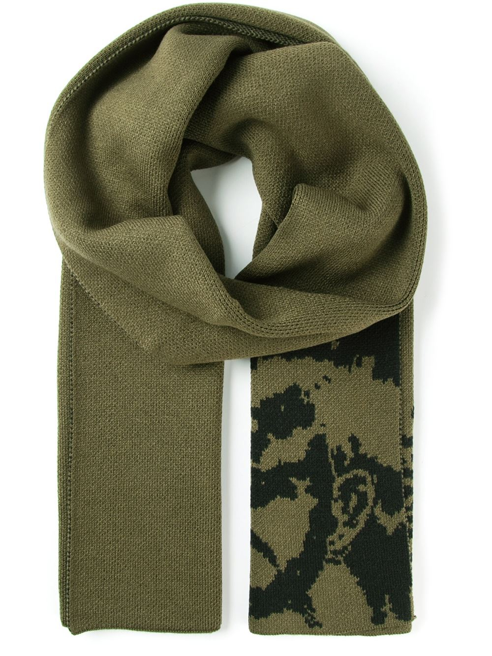diesel patterned scarf in green for lyst