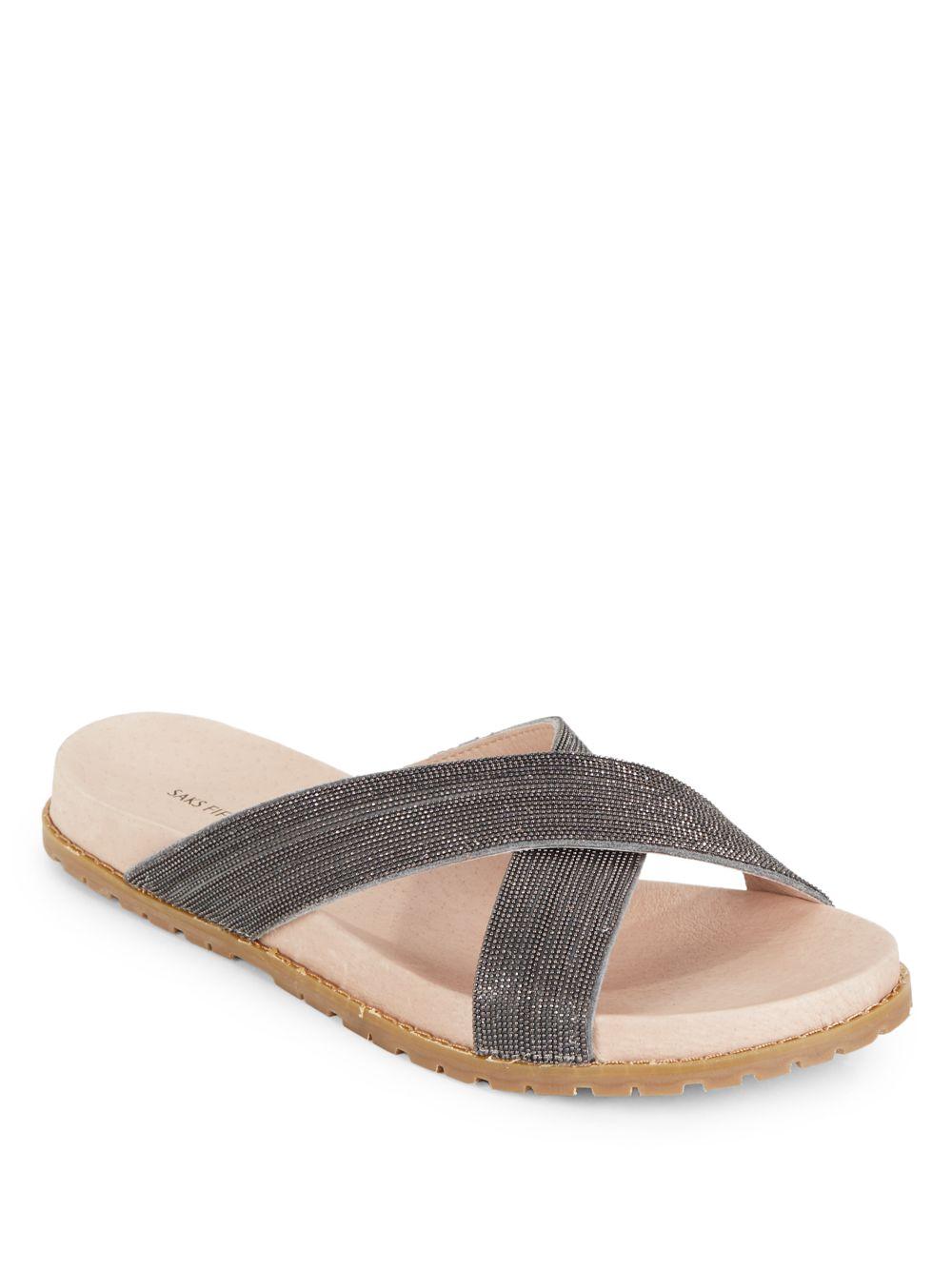 saks fifth avenue daylight slide sandals in black lyst