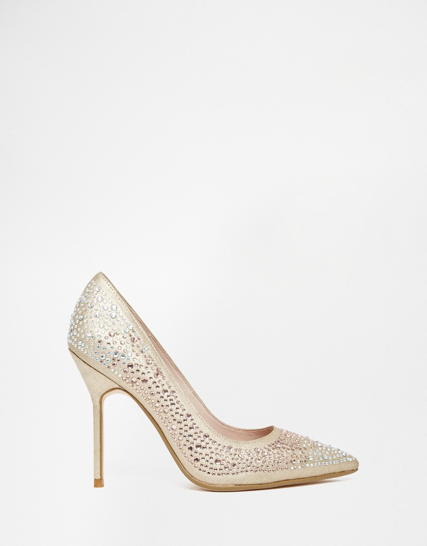 4a0f122c01 Dune Beautie Gold Embellished Heeled Court Shoes in Metallic - Lyst