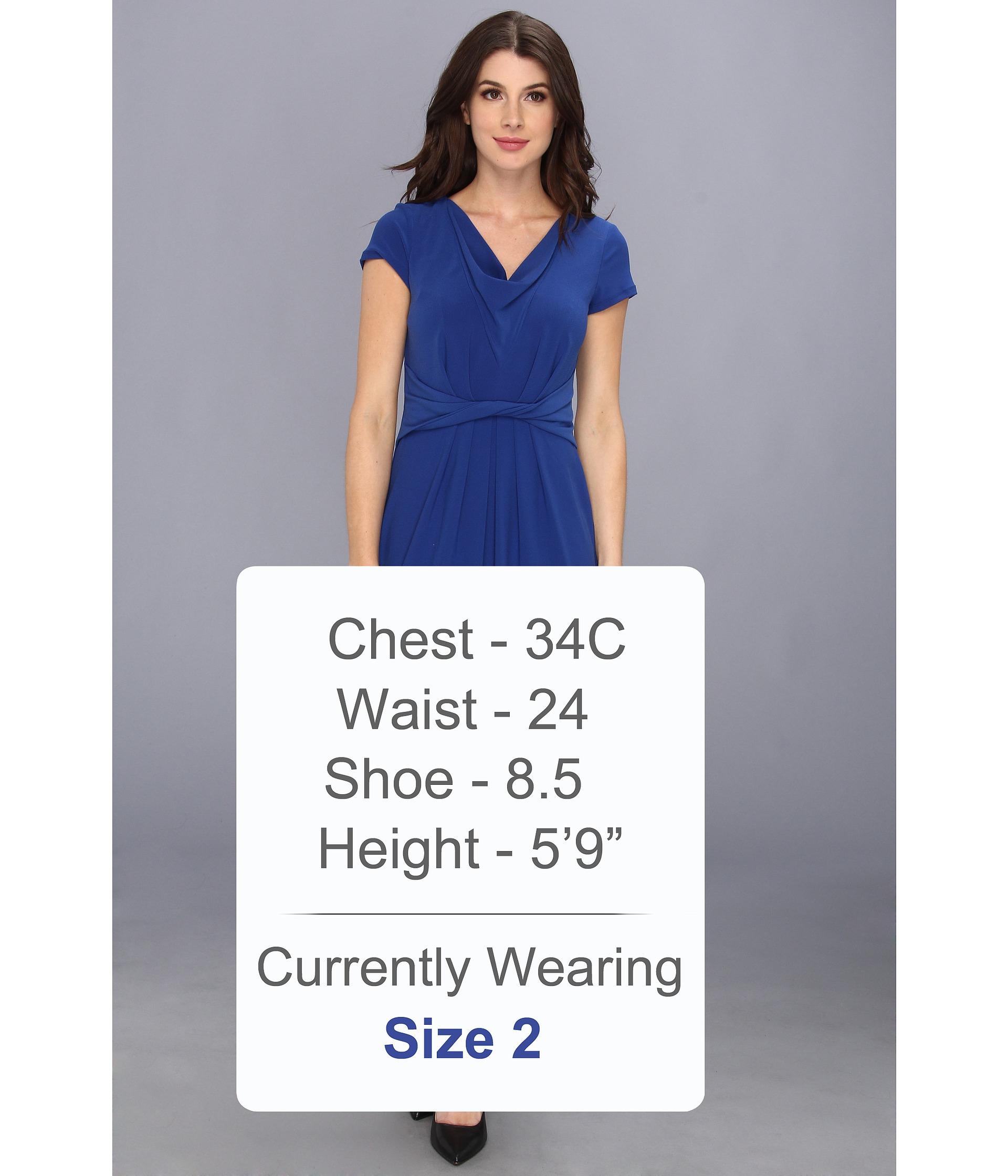 7c1d462aae0 Lyst - Ellen Tracy Ss Cowl Neck Crepe Dress in Blue