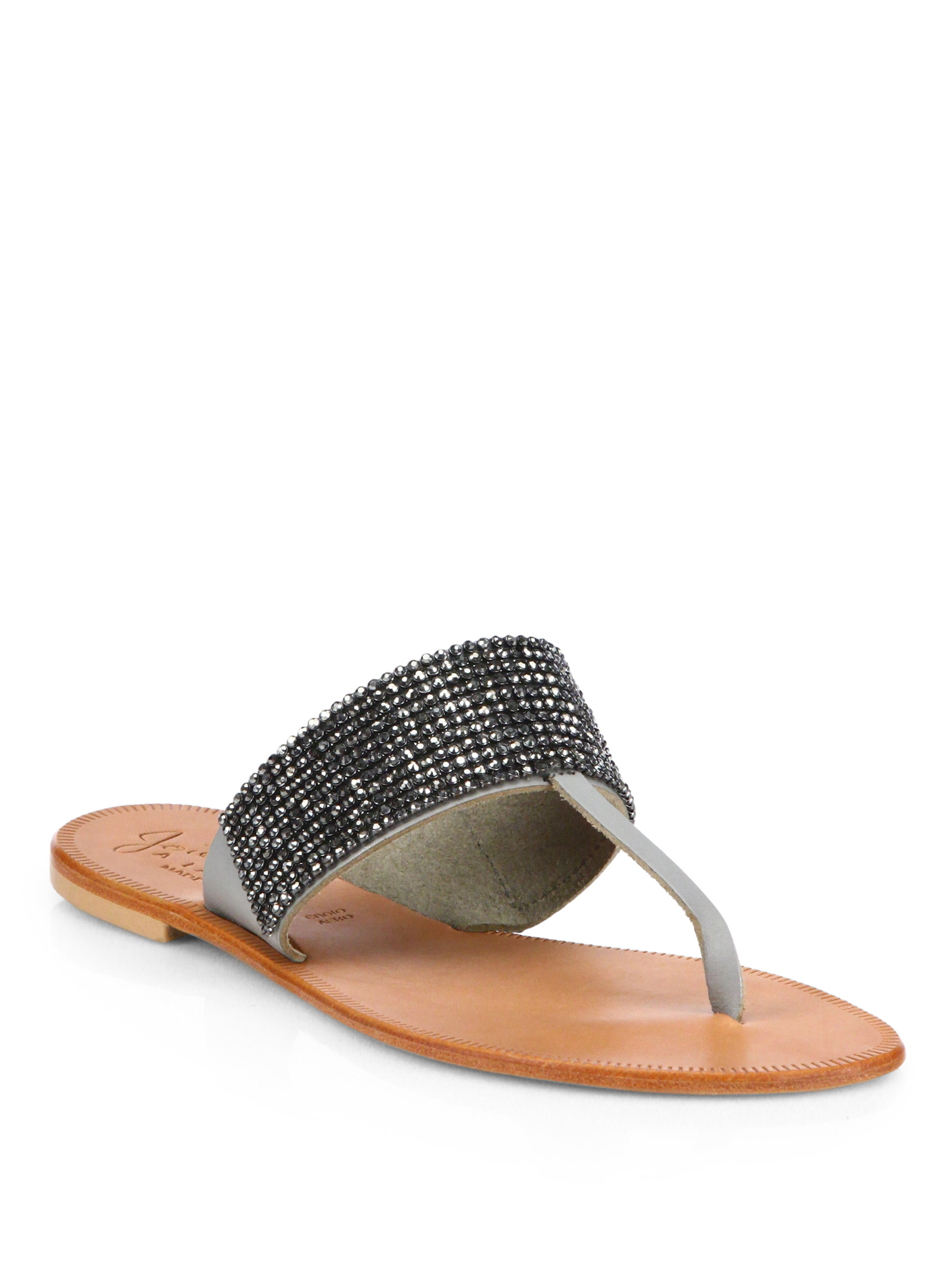 Joie Nice Metallic Leather Thong Sandals AETW1i
