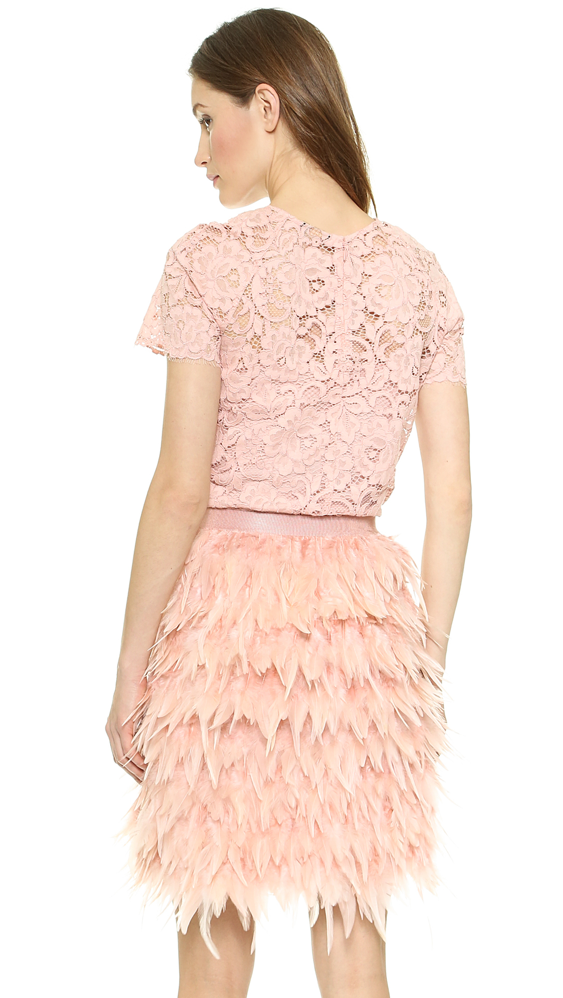 Lyst - Dkny Short Sleeve Lace Top - Blush in Pink