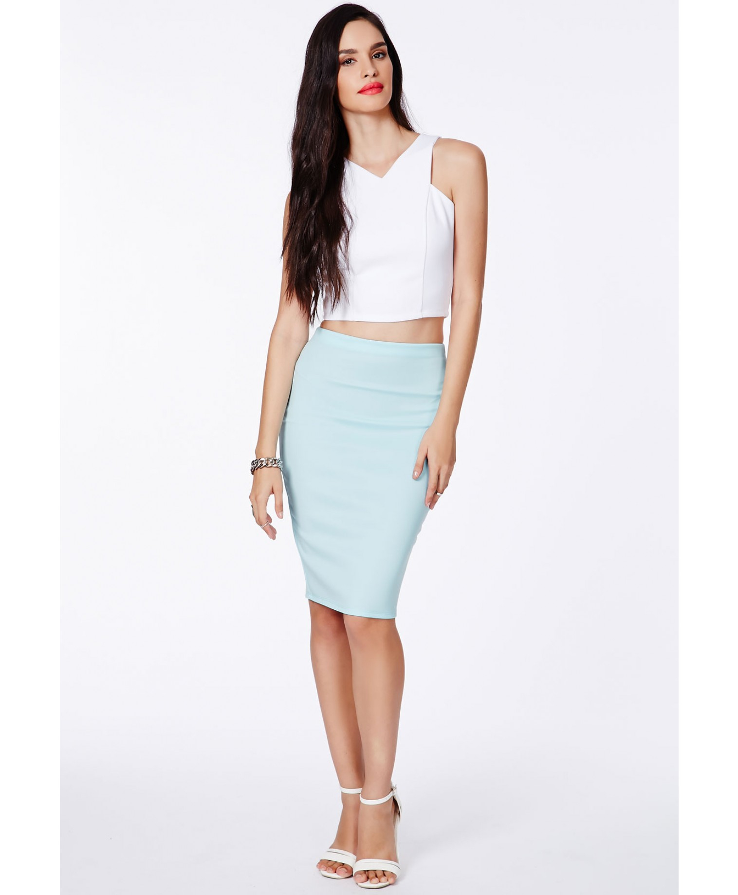 Missguided Candace Baby Blue Scuba Midi Skirt in Blue | Lyst