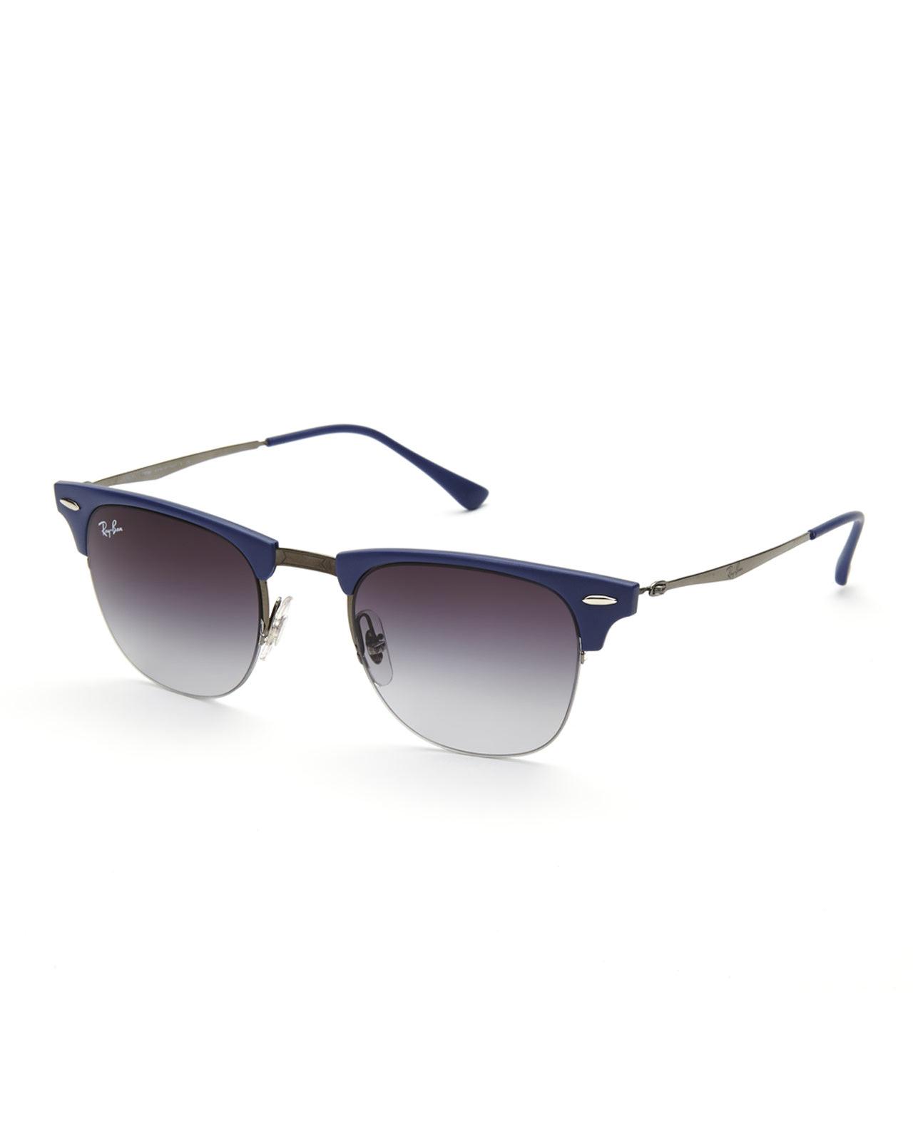 Lyst - Ray-Ban Rb8056 Blue & Silver-Tone Half-Rim Wayfarer ...