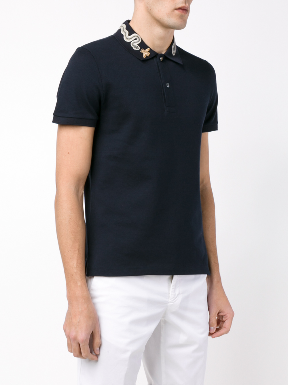b0f5e63d Gucci Blue Snake And Bee Collar Polo Shirt for men