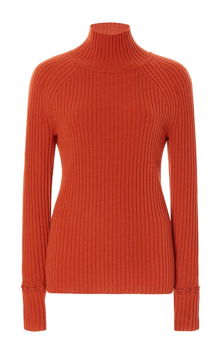 Zac posen Ribbed Turtleneck Sweater in Orange | Lyst