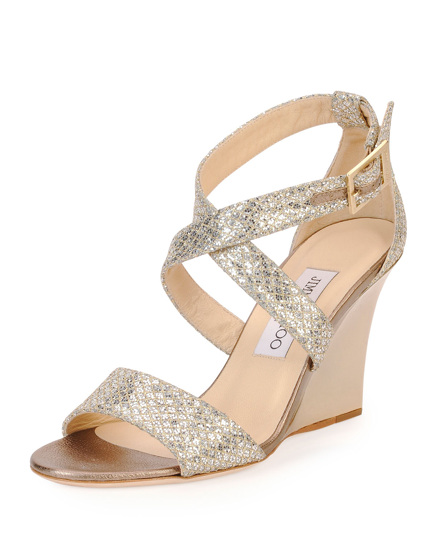 Jimmy Choo Fearne Glitter Wedge Sandals In Metallic