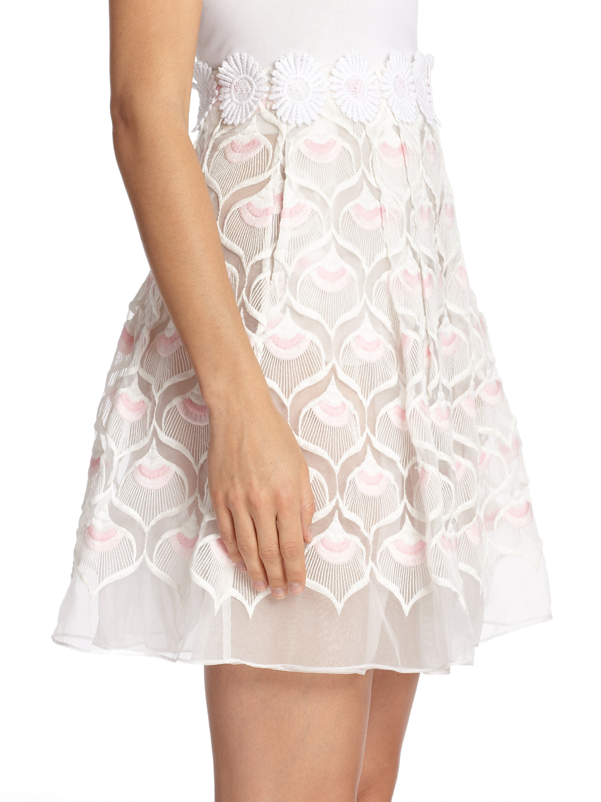 Lyst - Giamba Lace Applique Skirt in Pink