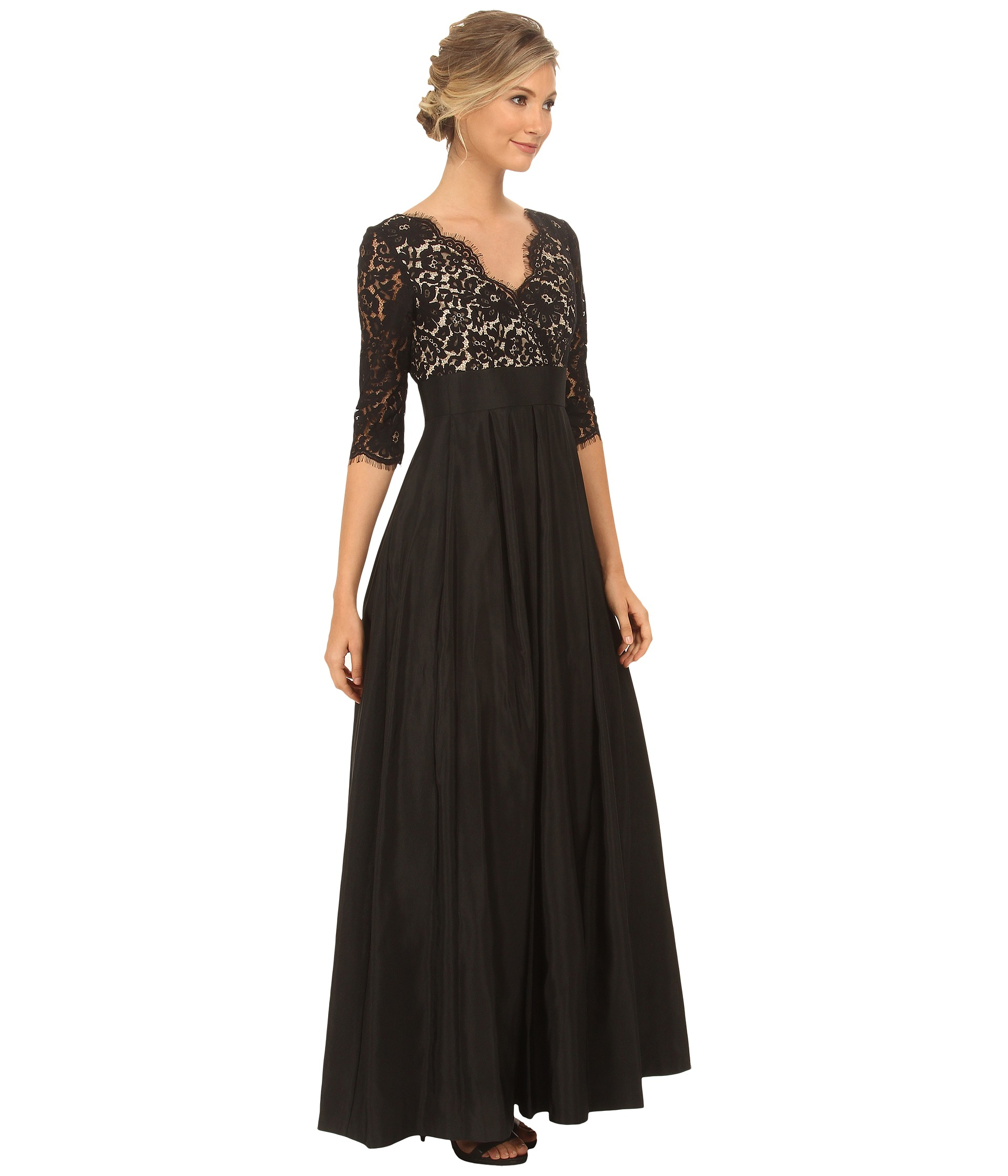 Lyst - Eliza J 3/4 Sleeve Surplice Lace Gown With Faile Skirt in Black