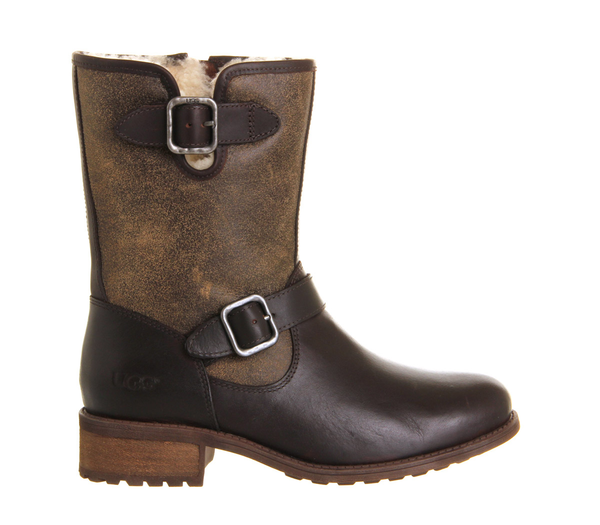 ugg chaney buckle boot in brown lyst