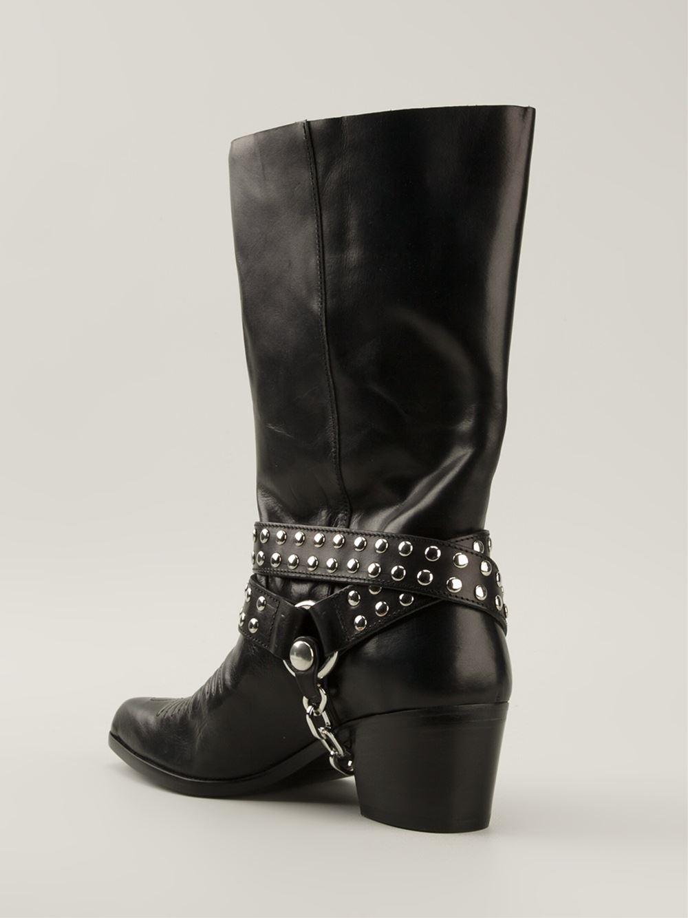 Diesel Black Gold Rose Boots In Black Lyst