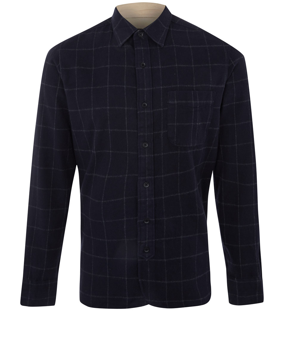 Lyst rag bone navy check brushed cotton flannel shirt for How to wash flannel shirts