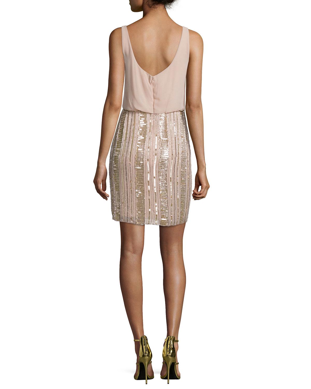 Lyst Aidan Mattox Sleeveless Embellished Blouson Dress