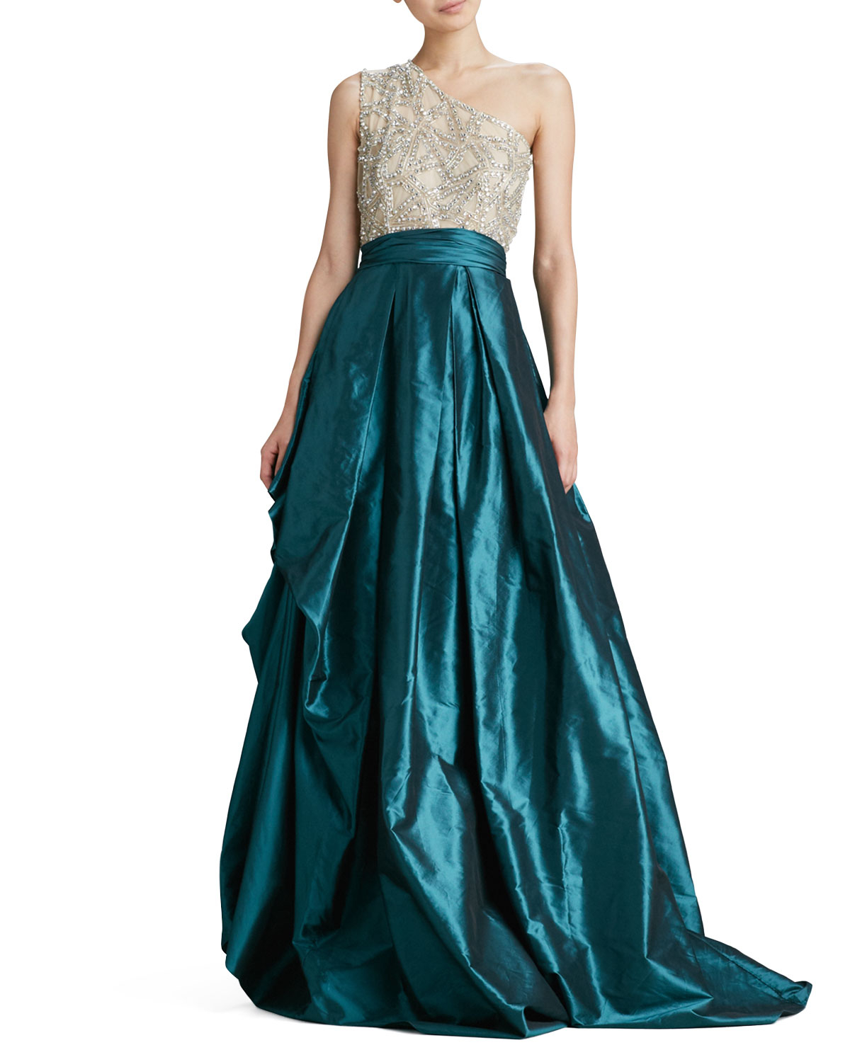 Lyst - Naeem Khan One-shoulder Beaded-bodice Ball Gown in Blue
