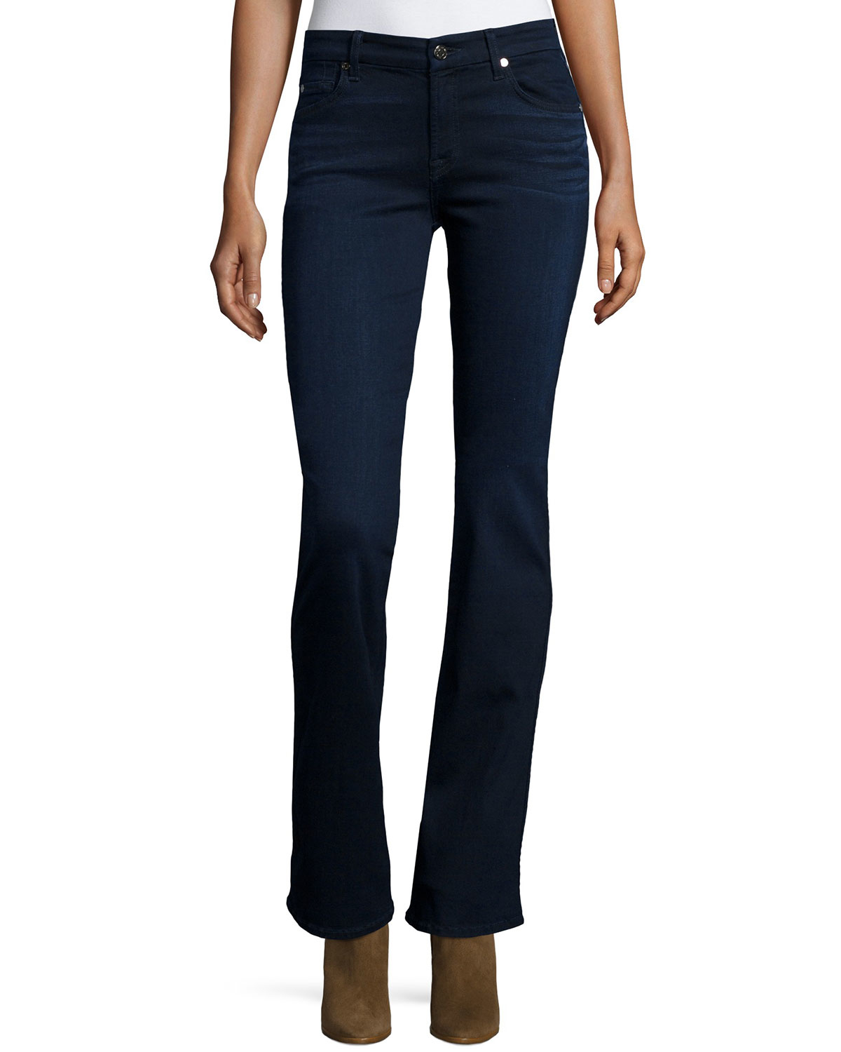 7 for all mankind kimmie boot cut jeans in blue slim illusion lux lyst. Black Bedroom Furniture Sets. Home Design Ideas