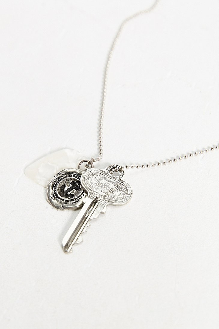 urban outfitters guitar pick mixed charm necklace in
