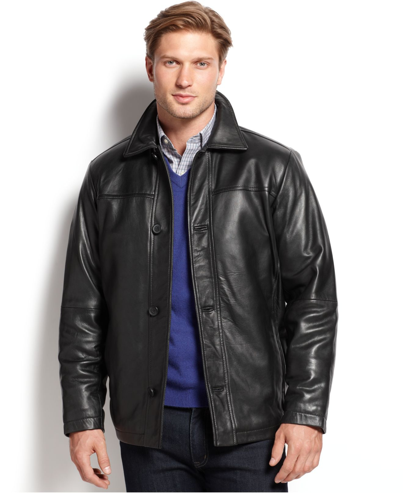 017335be9 Perry Ellis Black Portfolio Big And Tall Leather Bomber Jacket for men