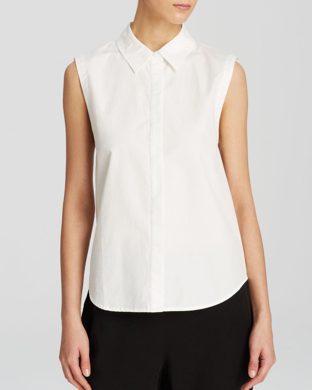 Eileen Fisher Classic Collar Sleeveless Shirt The Fisher