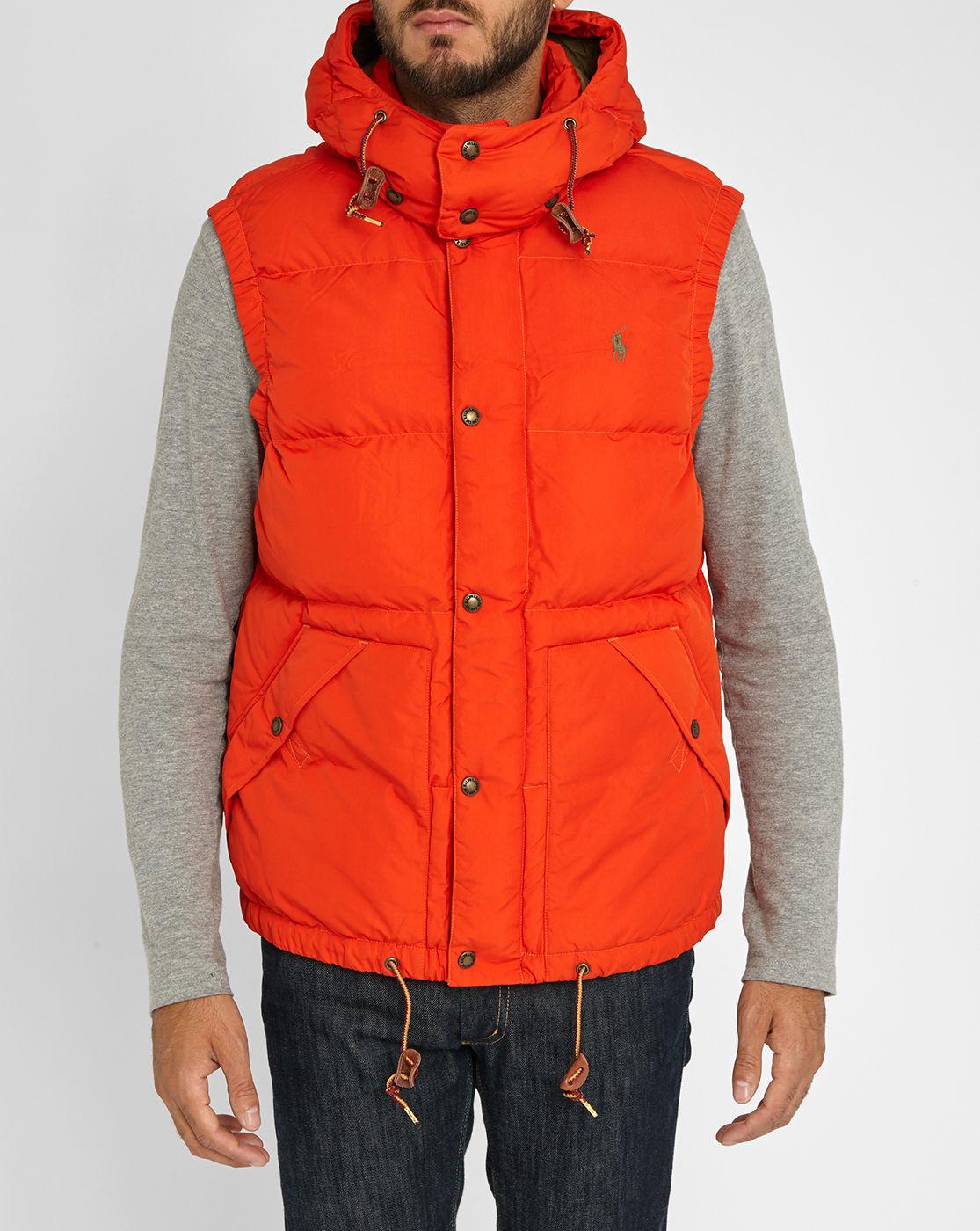 polo ralph lauren orange retro sleeveless down jacket in