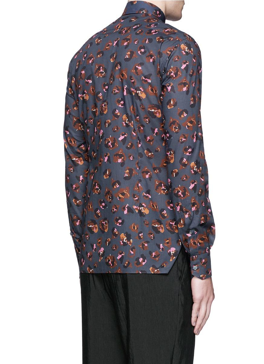 Lanvin Leopard Print Poplin Shirt in Blue for Men