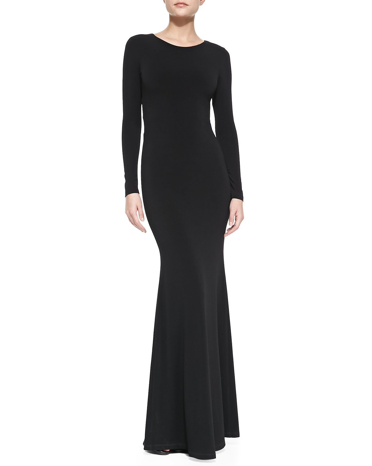 Alice Olivia Long Sleeve Maxi Dress With Back Piping
