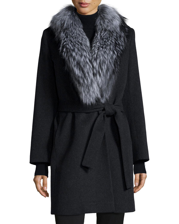 Lyst Fleurette Wool Wrap Coat W Fur Collar In Black