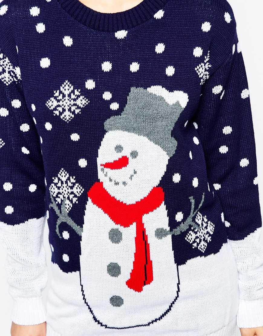 dd27f9beb027 Lyst - Club L Snowman Christmas Jumper in Blue