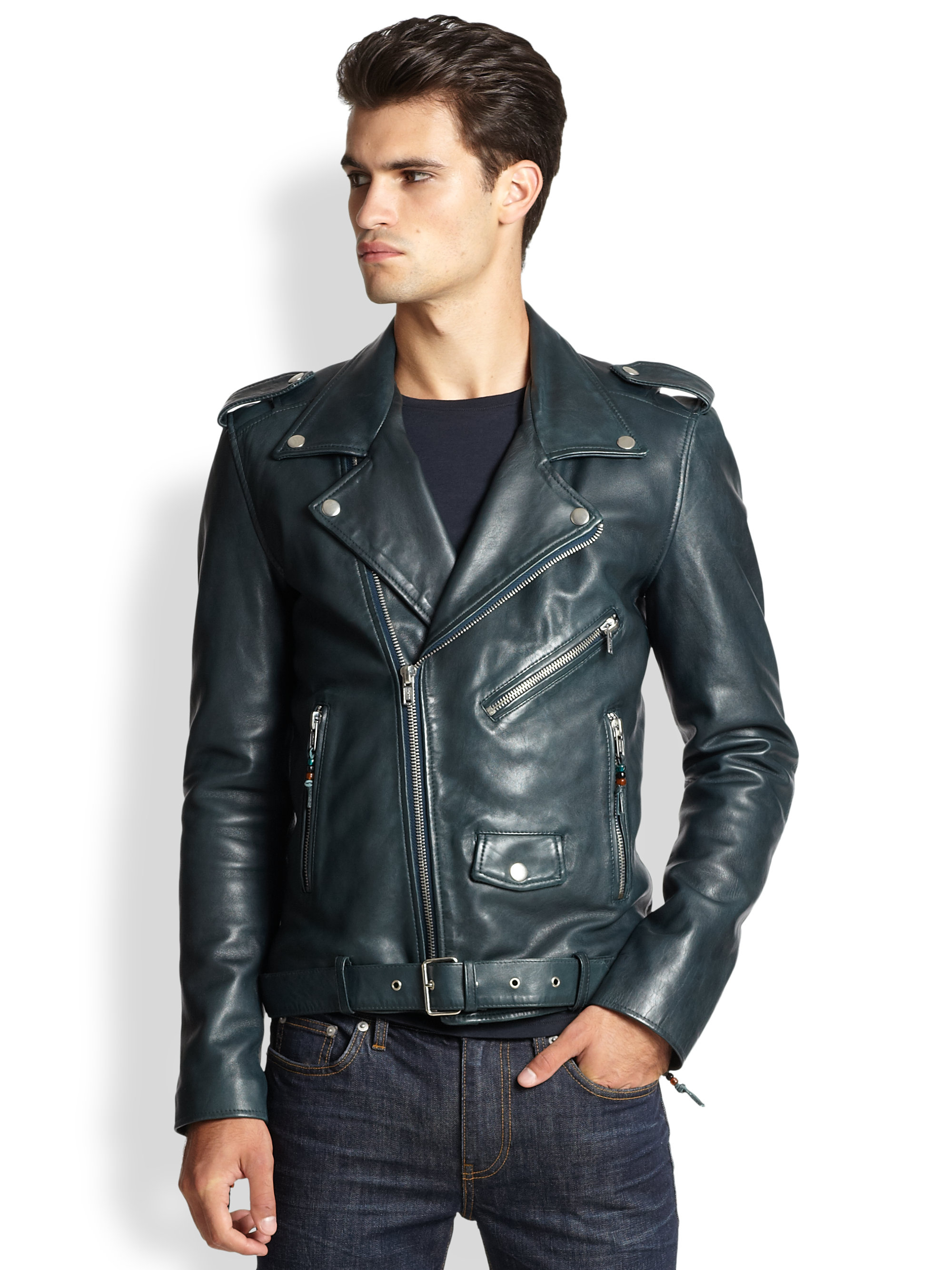 Lyst Blk Dnm Leather Moto Jacket In Green For Men
