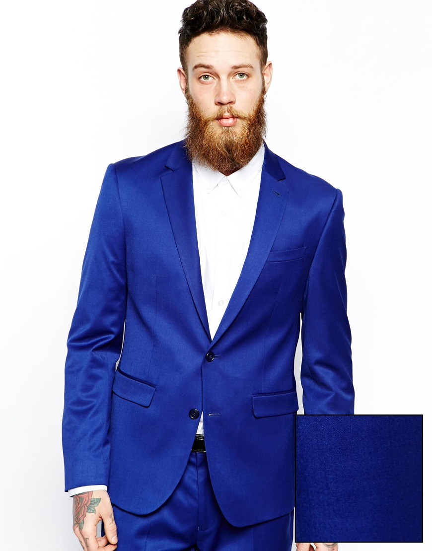 Asos Skinny Suit Jacket In Polywool in Blue for Men | Lyst