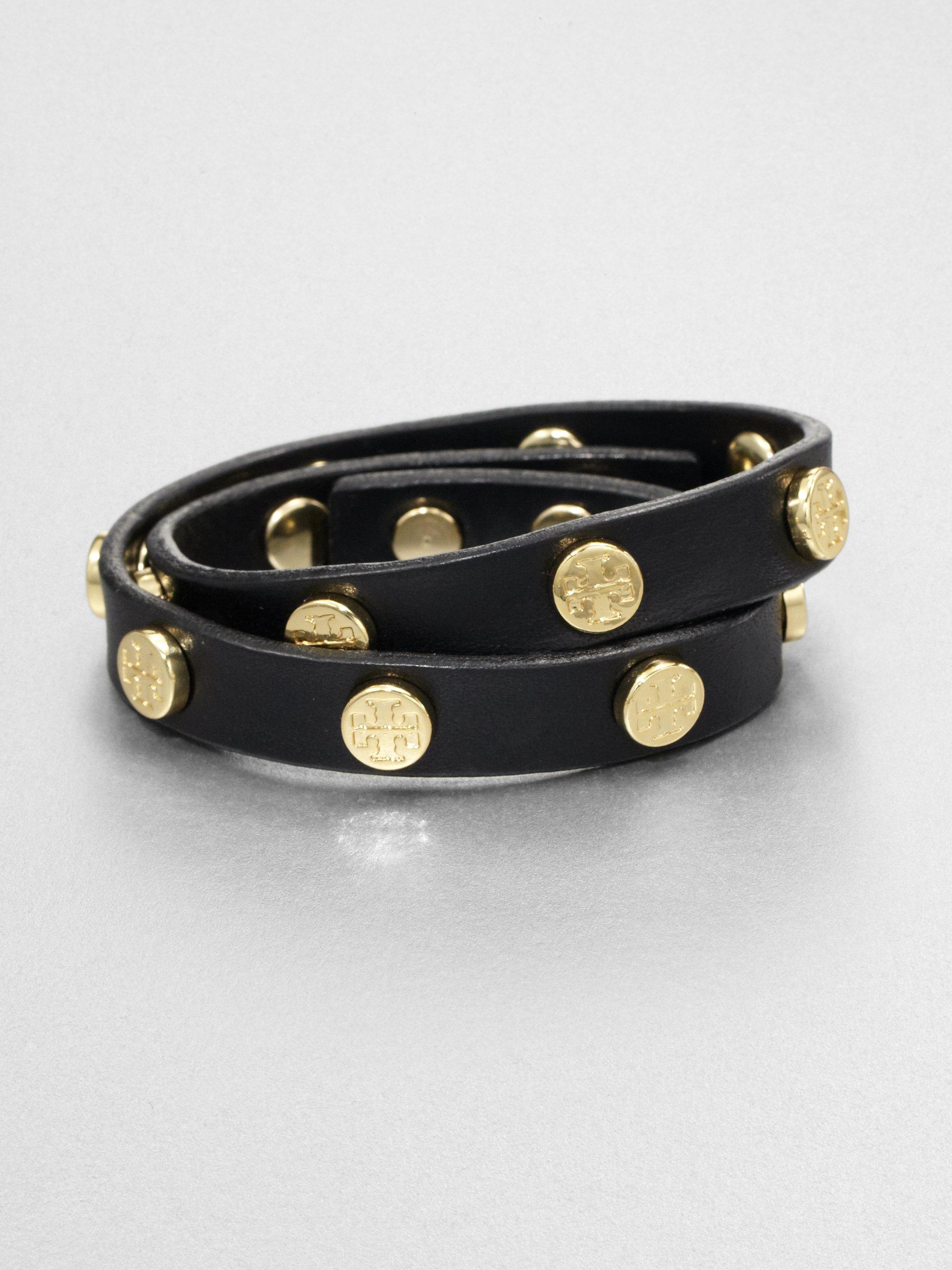 Logo Stud Leather Double Wrap Bracelet