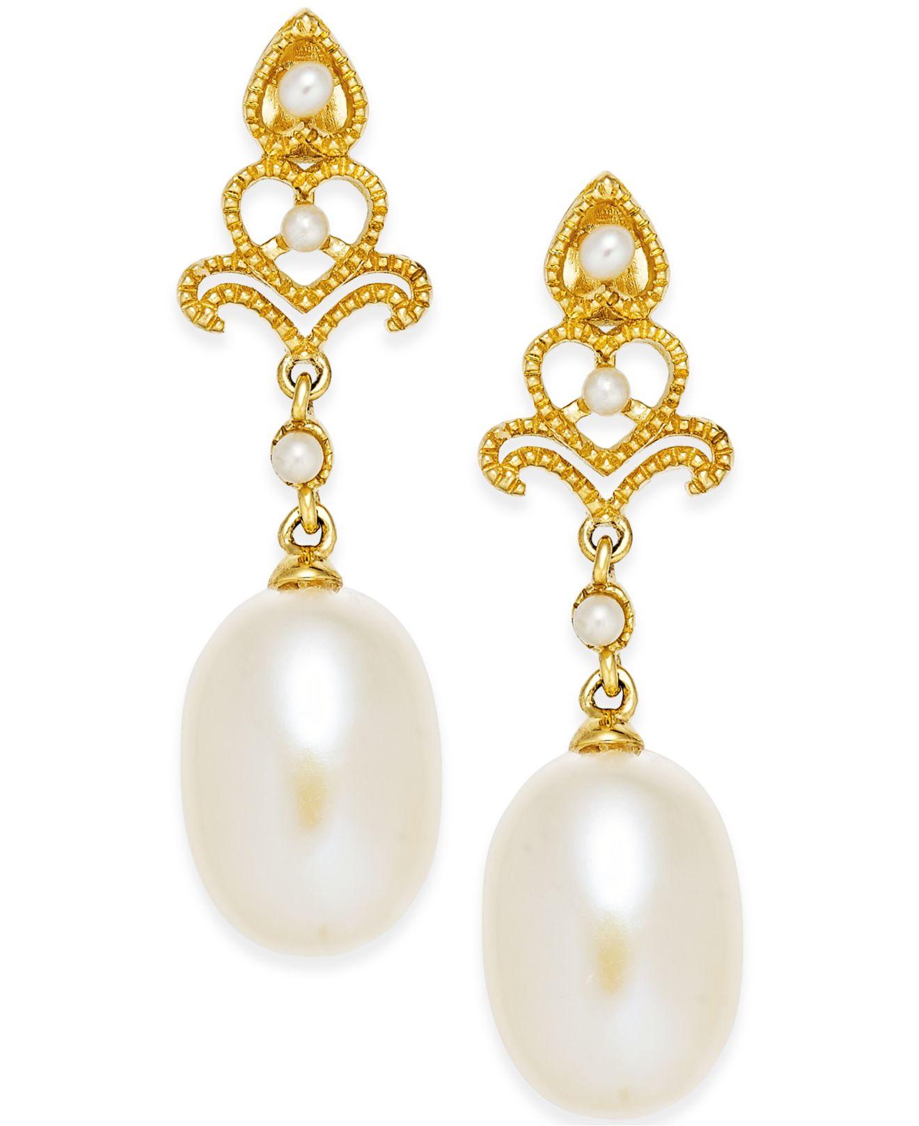 macy s cultured freshwater pearl 7mm drop earrings in