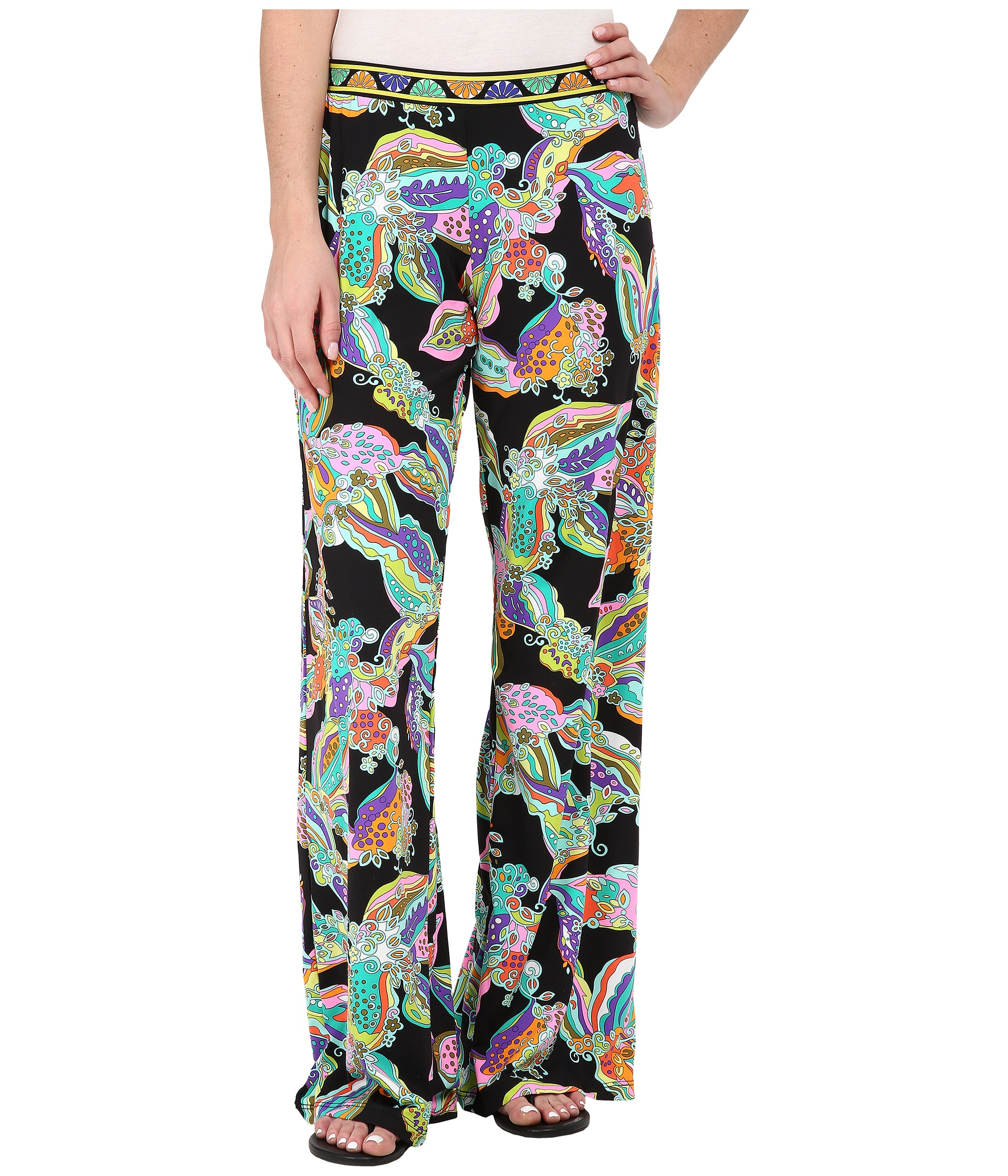 Trina turk Sea Garden Wide Leg Pant in Black | Lyst