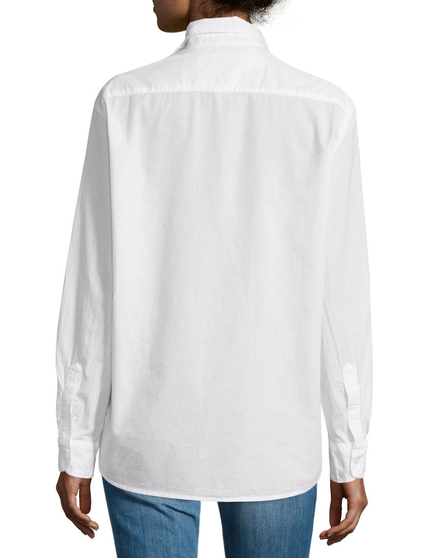 Frank eileen eileen button front poplin shirt in white for What is a poplin shirt