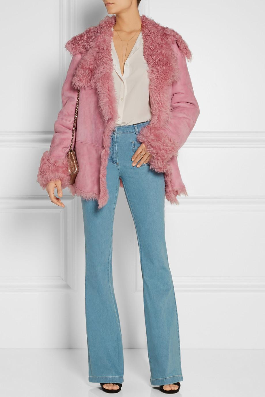 Michael kors Shearling Coat in Pink | Lyst
