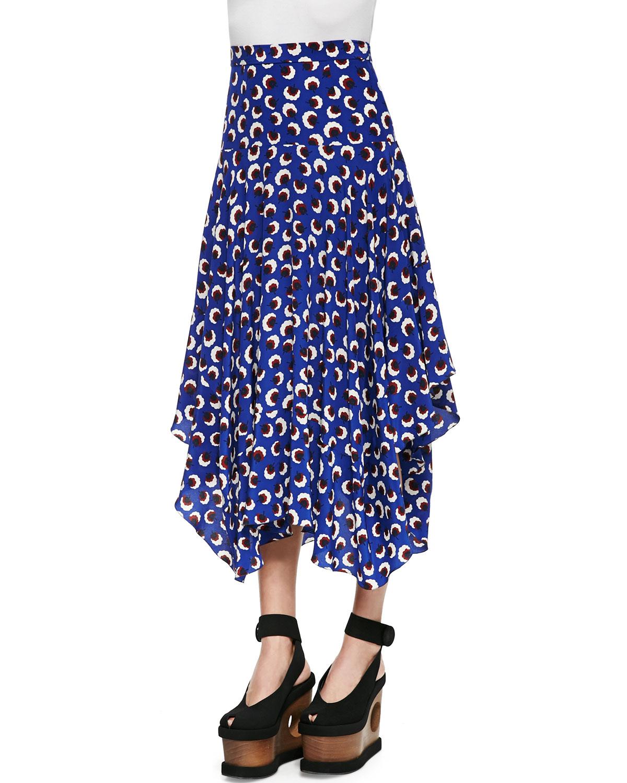 stella mccartney blossom print handkerchief skirt in