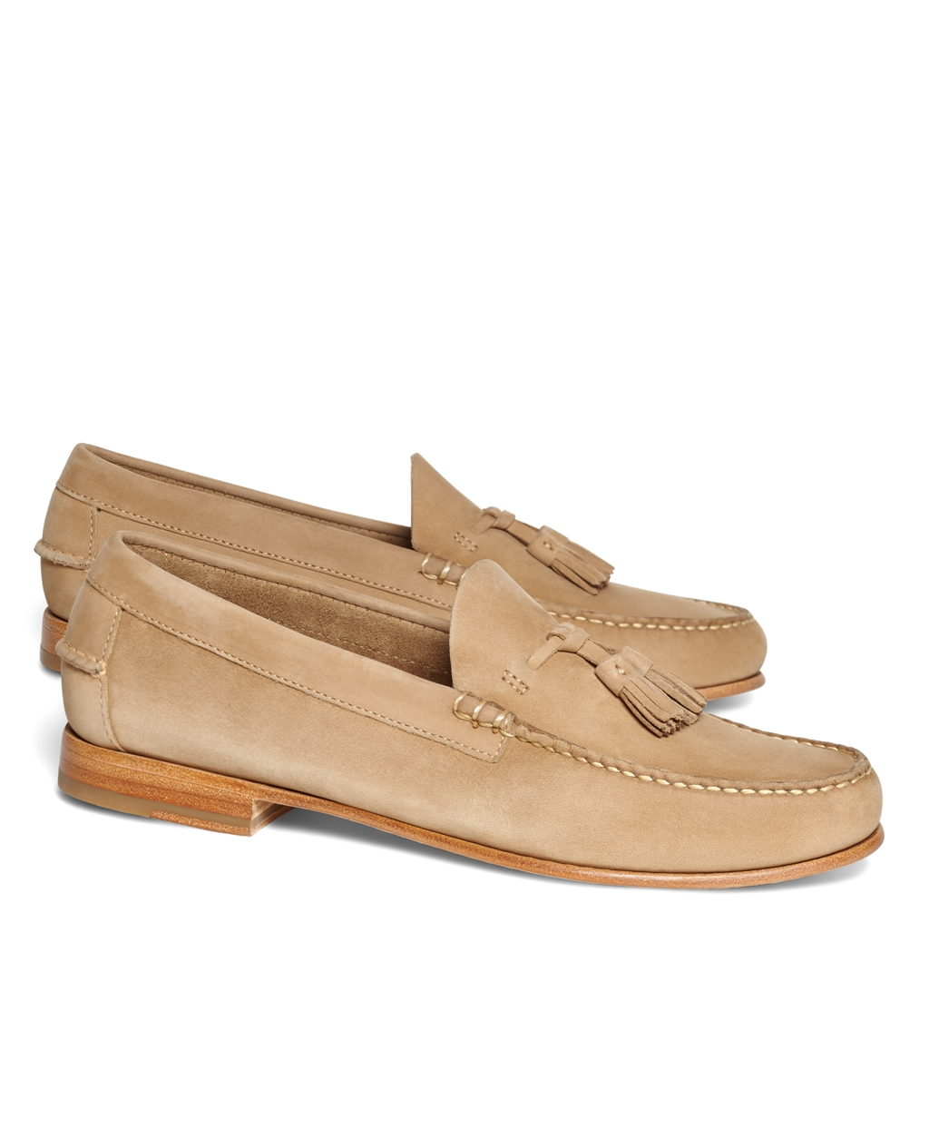 c4fa9d06159 Lyst - Brooks Brothers Nubuck Tassel Loafers in Natural for Men