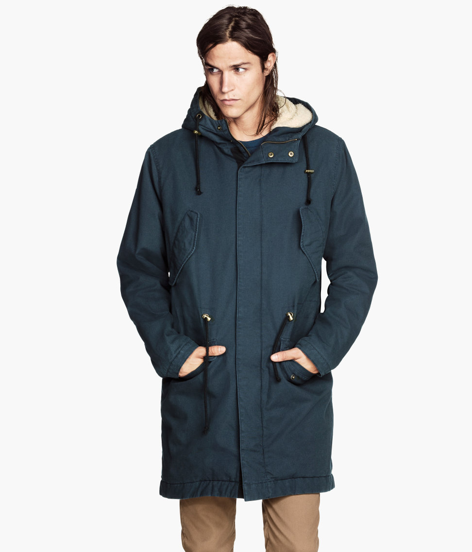 Gray-green Hm Pile-lined Parka in Gray for Men Lyst ...