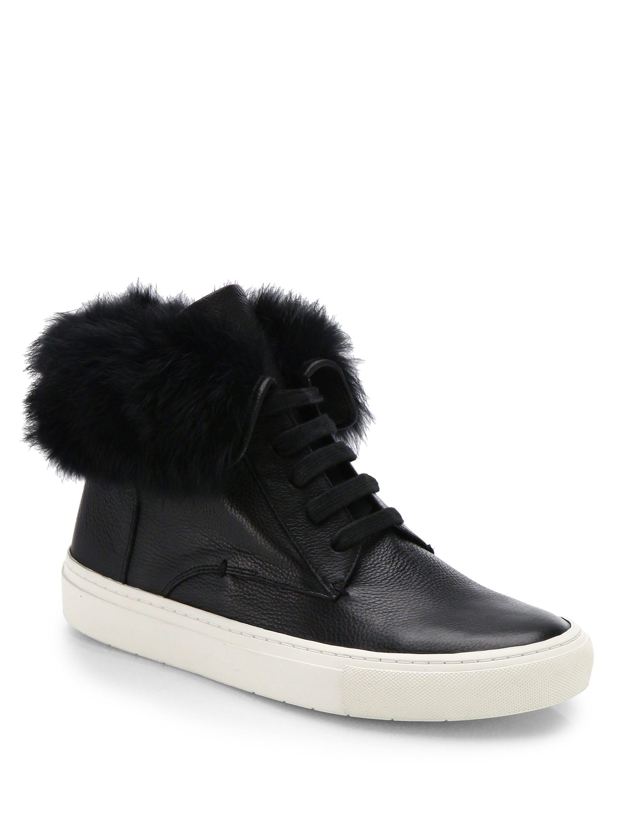Vince Nyack Leather Amp Fur High Top Sneakers In Black Lyst