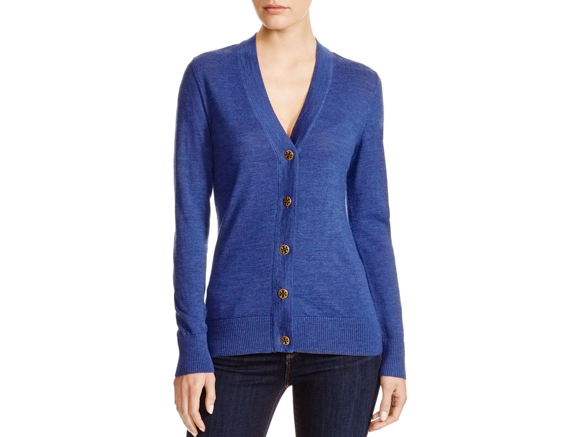Tory burch Simone Merino Wool Cardigan in Blue | Lyst