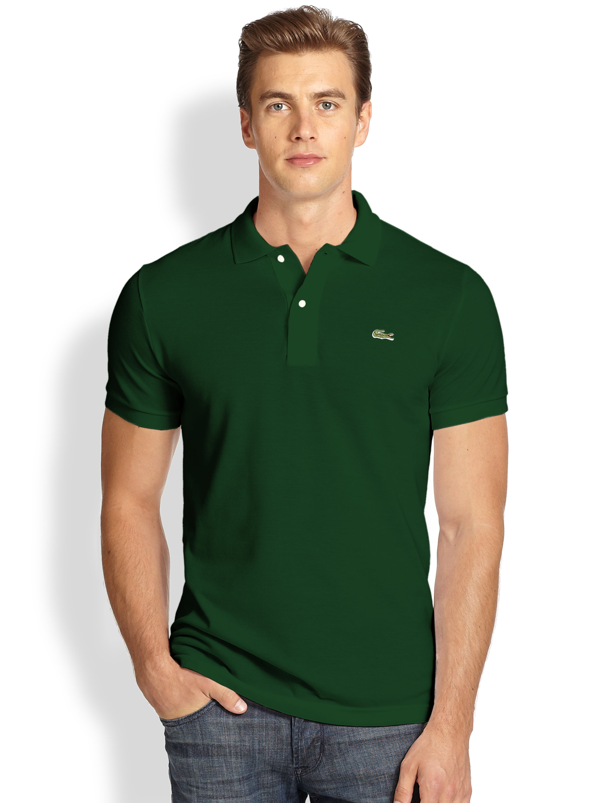 lacoste slim fit polo in green for men lyst. Black Bedroom Furniture Sets. Home Design Ideas