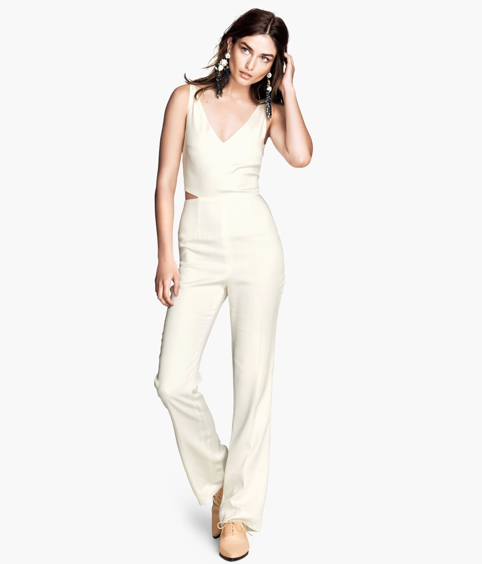 h m lyocell jumpsuit in white lyst. Black Bedroom Furniture Sets. Home Design Ideas