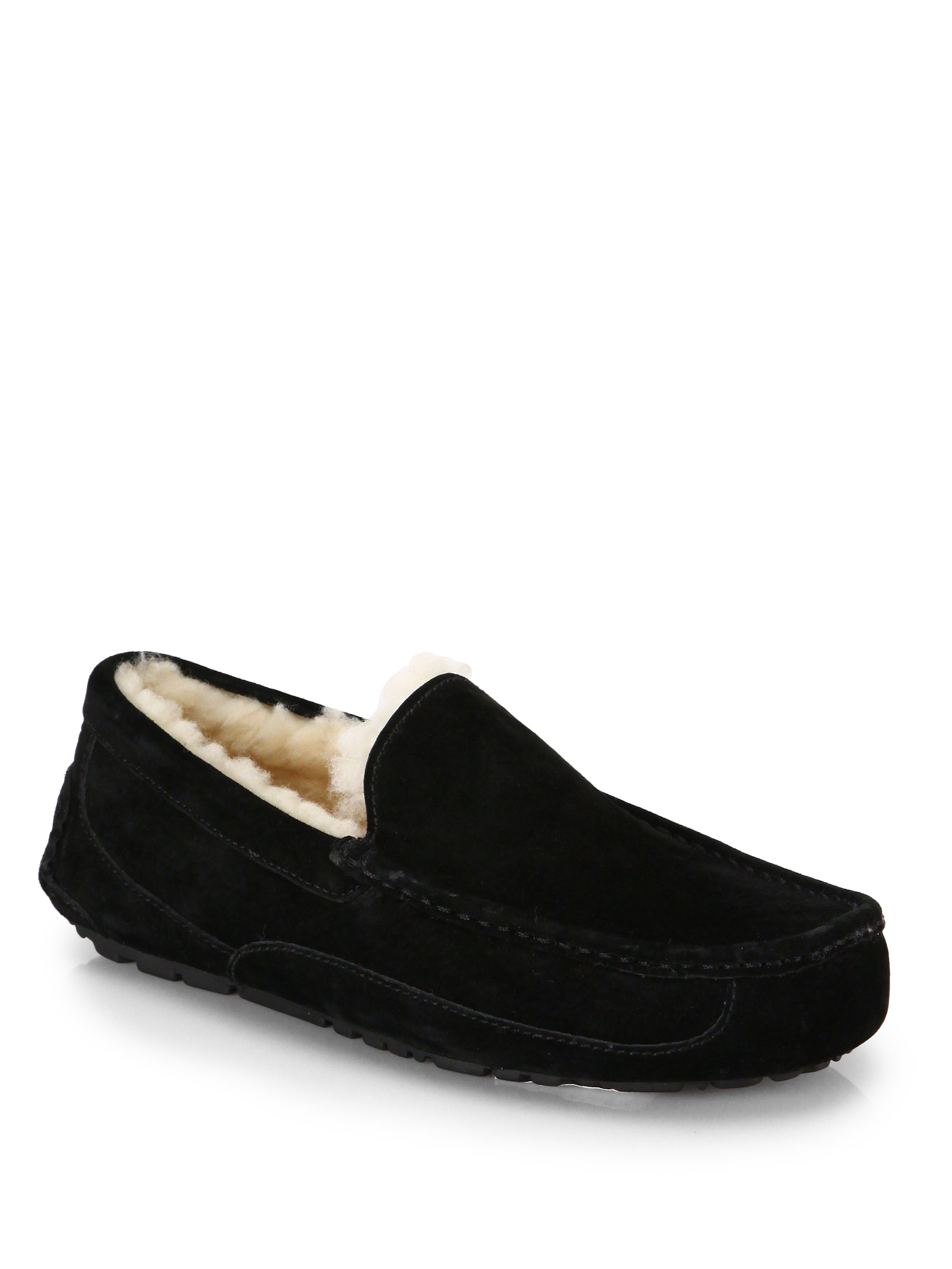 ugg ascot suede shearling slippers in black lyst