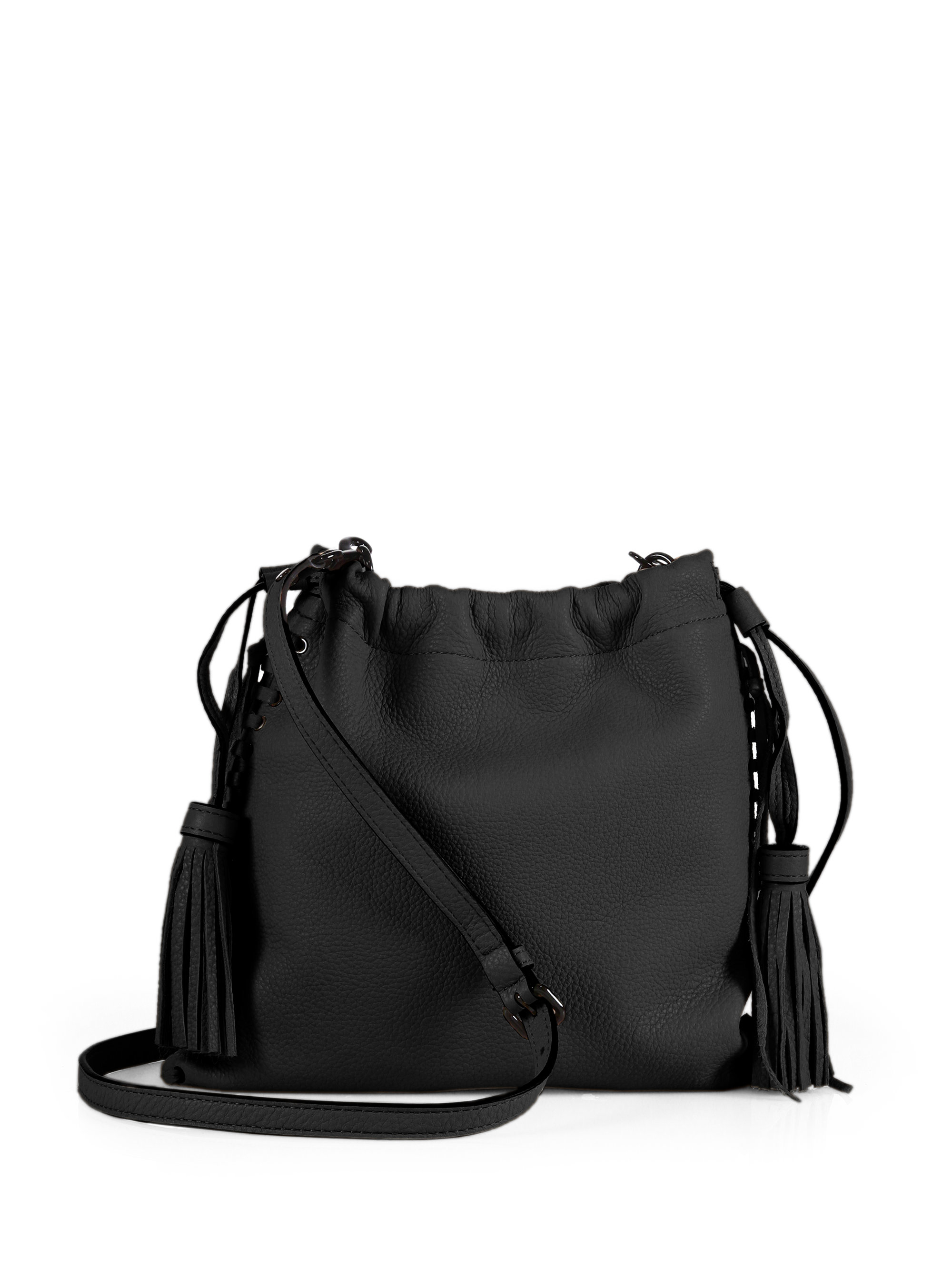 Rebecca minkoff Moto Leather Drawstring Crossbody Bag in Black | Lyst