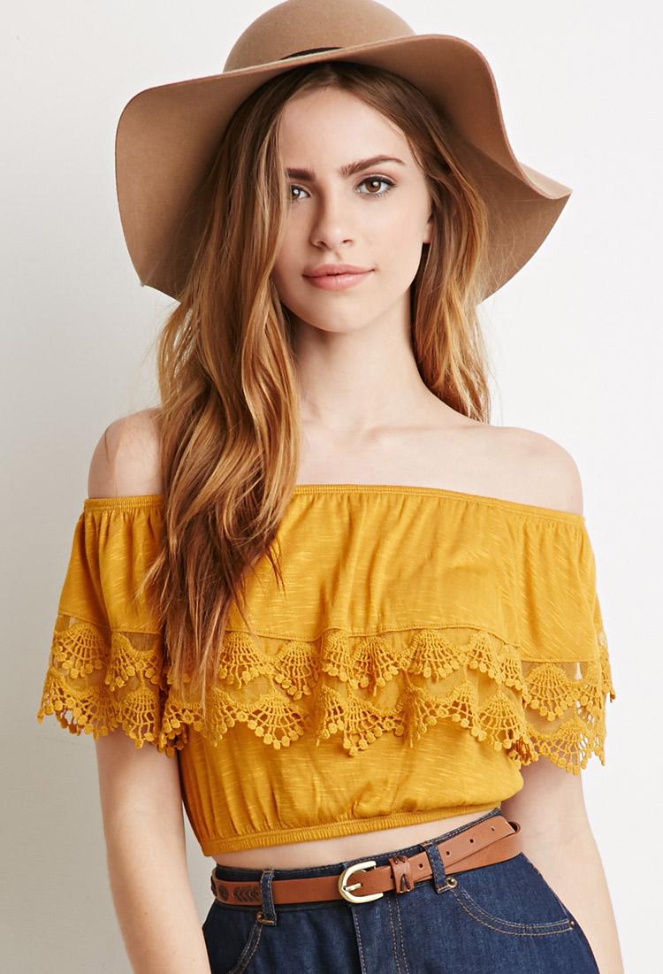One Shoulder Yellow Top