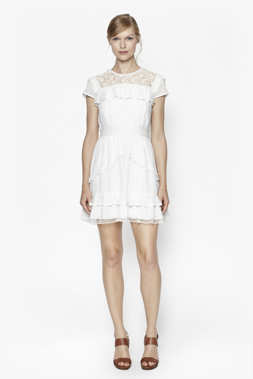 French Connection Dayton Lace High Neck Dress In White