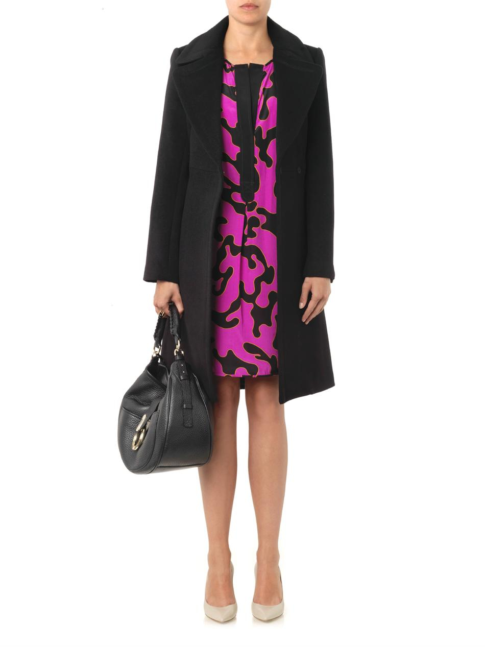 Diane Von Furstenberg Jeannie Wool Blend Coat In Black Lyst